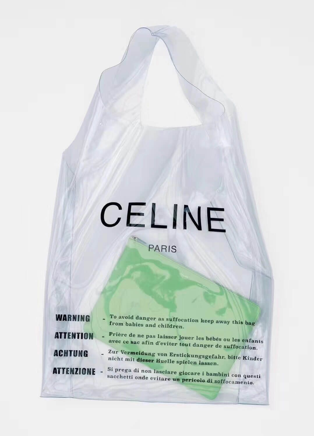 a1f2ddadc2 Celine Hyaline PVC Large Shopping Bag With a Leather Pouch Green 2018