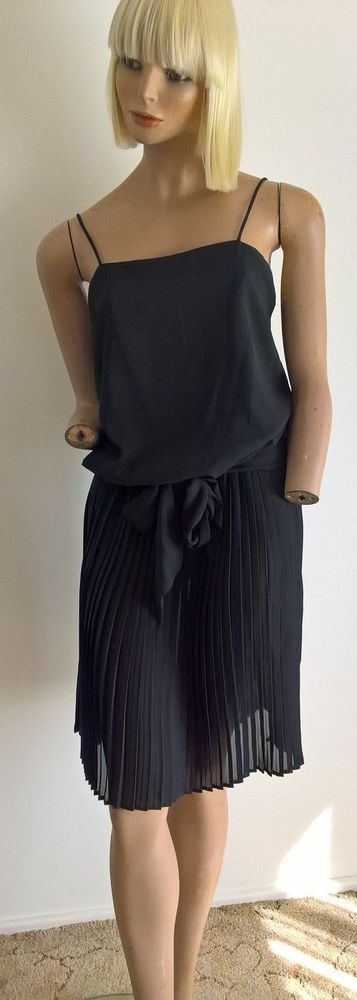 75a3ed3afcf Vintage 80 s Mr Simon little black dress with strap shoulders   sash belt  10 S  fashion  clothing  shoes  accessories  vintage  womensvintageclothing  (ebay ...