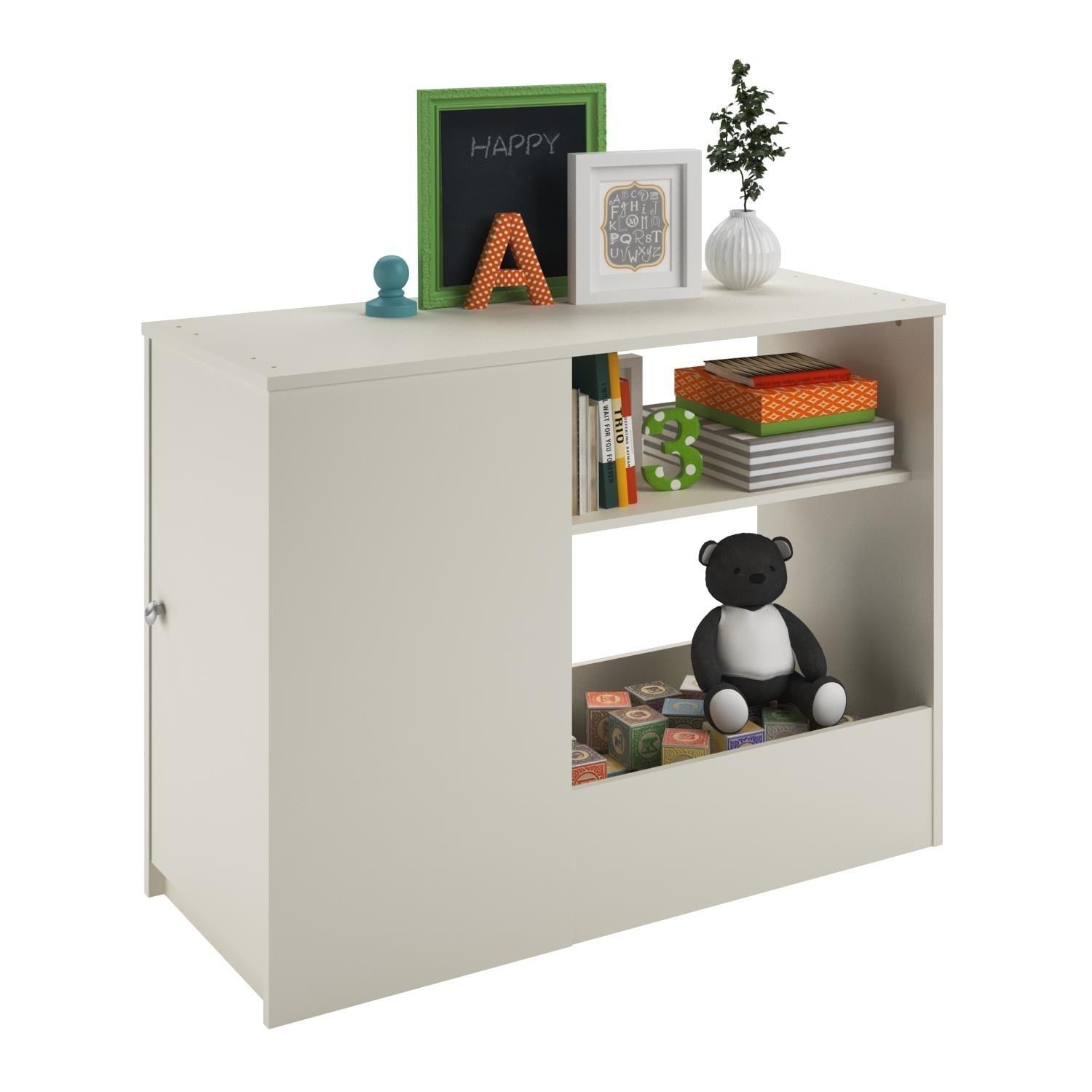 Ameriwood Home Altra Elements White Toy Box Bookcase With Door By  # Muebles Tito Dos Hermanas