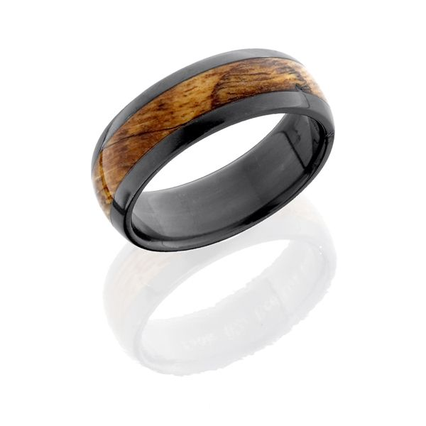 7mm Black Zirconium Half Round Red Oak Burl Wood Inlay