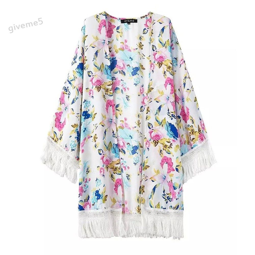 Click to Buy << Stylish Ladies Women Print Kimono Style Sheer Chiffon  Tassel. >>
