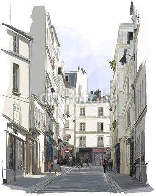 Fotomural calle cerca de montmartre en parís - parís • PIXERS.es
