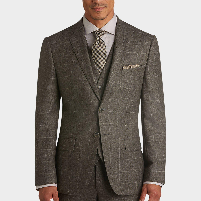 Buy a joseph abboud brown windowpane plaid slim fit vested suit