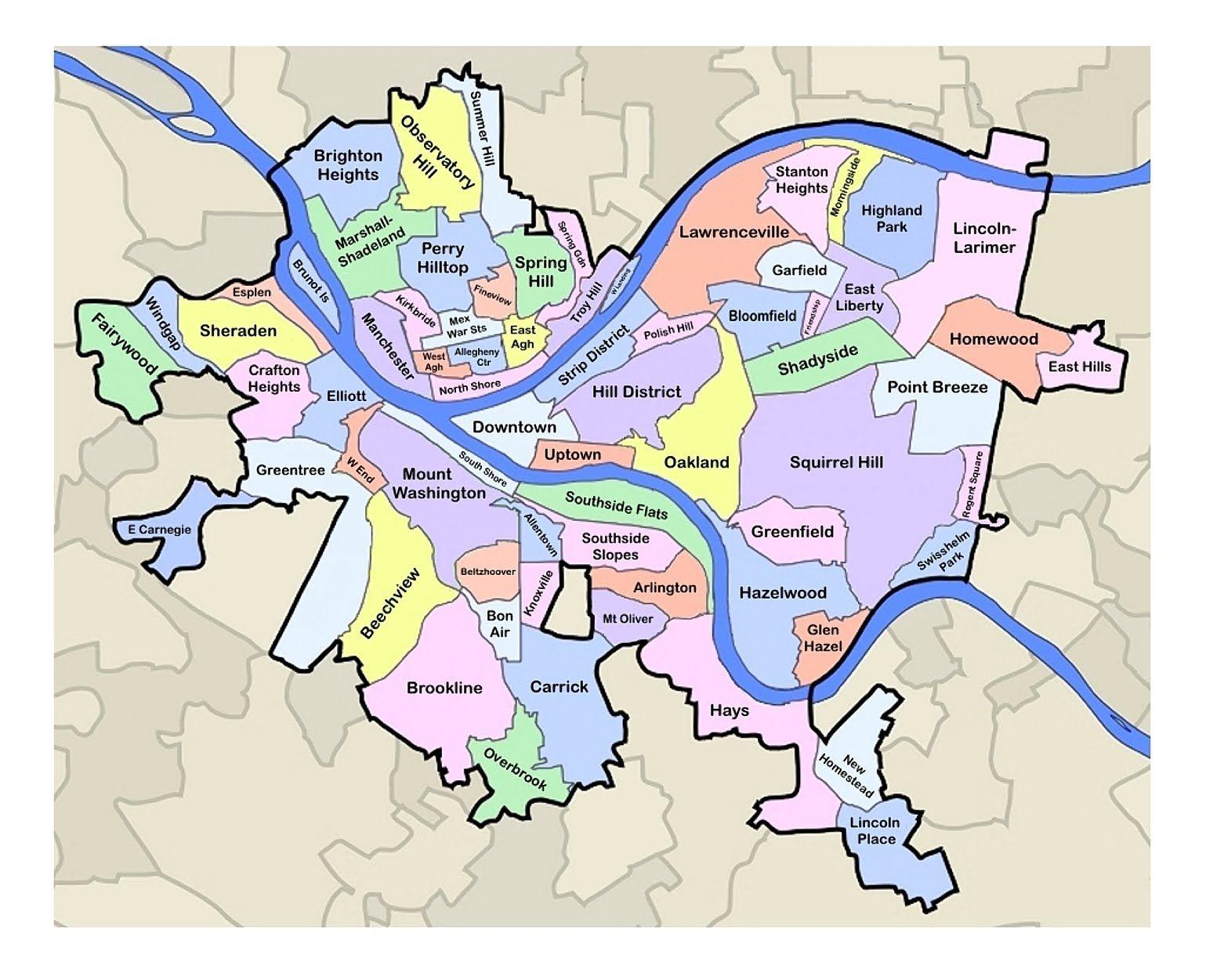 Pittsburgh Neighborhood Map Pittsburgh Map Neighborhoods |  Showcases Metro Pittsburgh Real  Pittsburgh Neighborhood Map