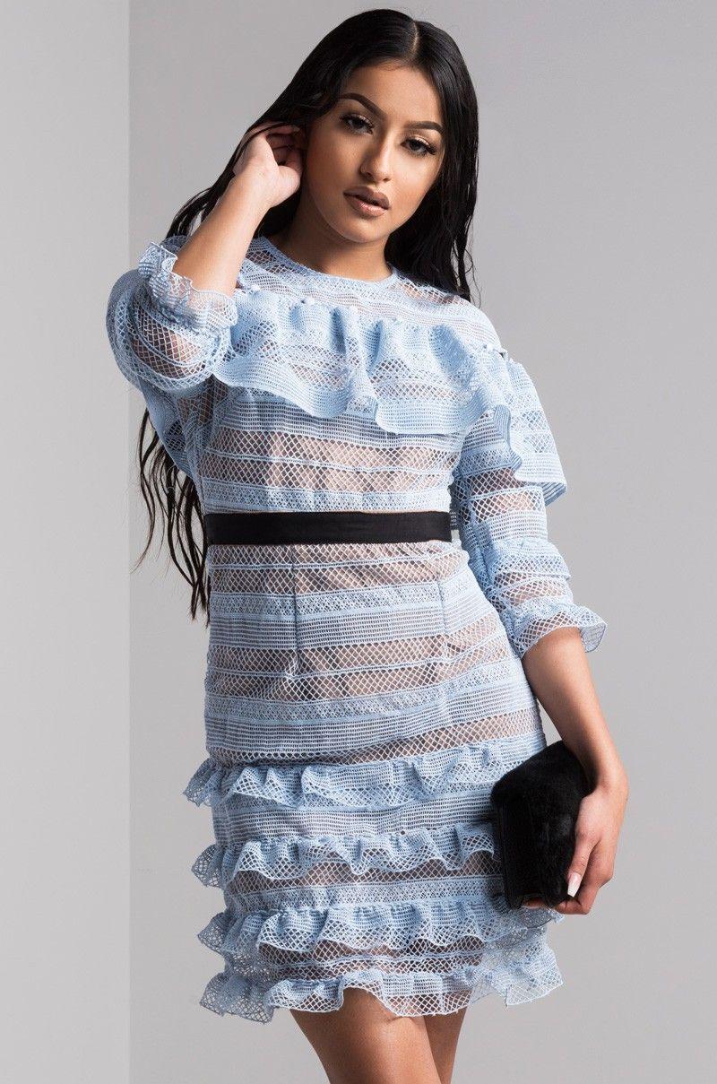 fc8fa127f AKIRA 3/4 Sleeve Lace Bodycon Ruffled Mini Dress in Blue | New at AKIRA |  Pinterest | Mini dresses, Ruffles and Minis