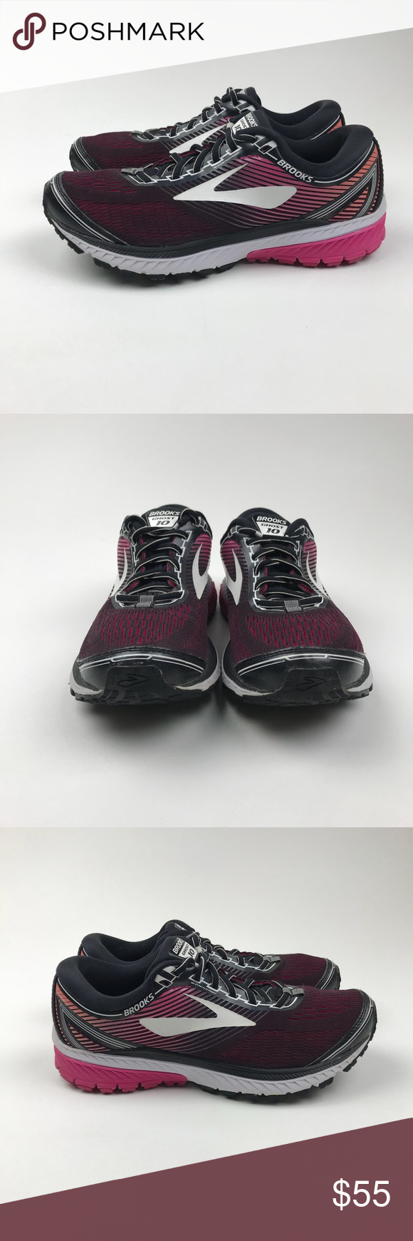 ccd9258a24299 Brooks Ghost 10 Running Shoe Black   Pink Peacock Brooks Ghost 10 Running  Shoe Size