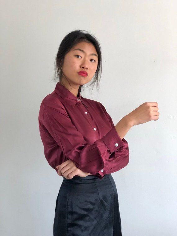 a834f11b6c1726 90s silk charmeuse plum blouse / oxblood charmeuse silk french cuffs shirt  / minimalist garnet satin