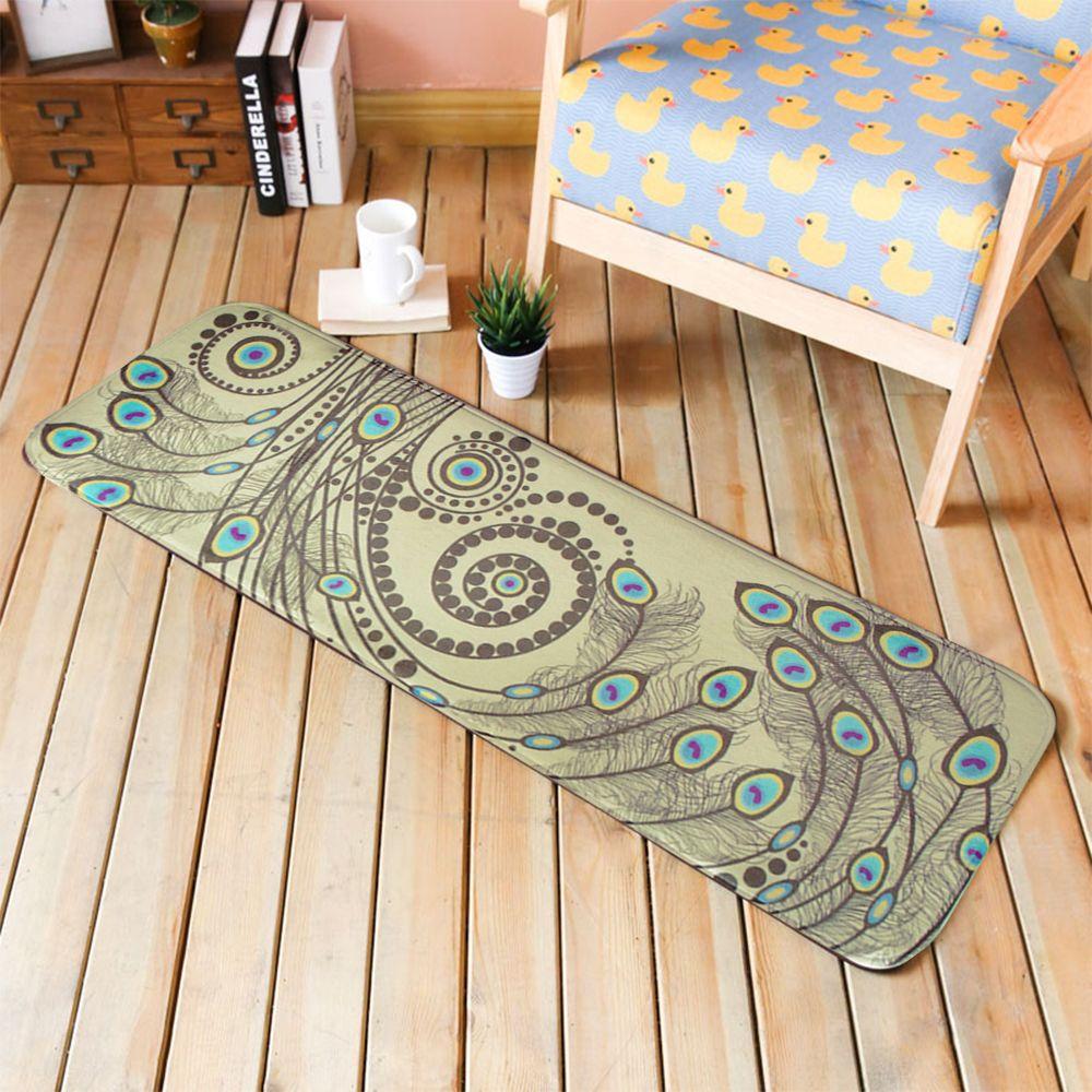 Hallway floor decor  yazi Flannel Peacock Carpet Soft Plush Floor Door Mat Bedroom Area