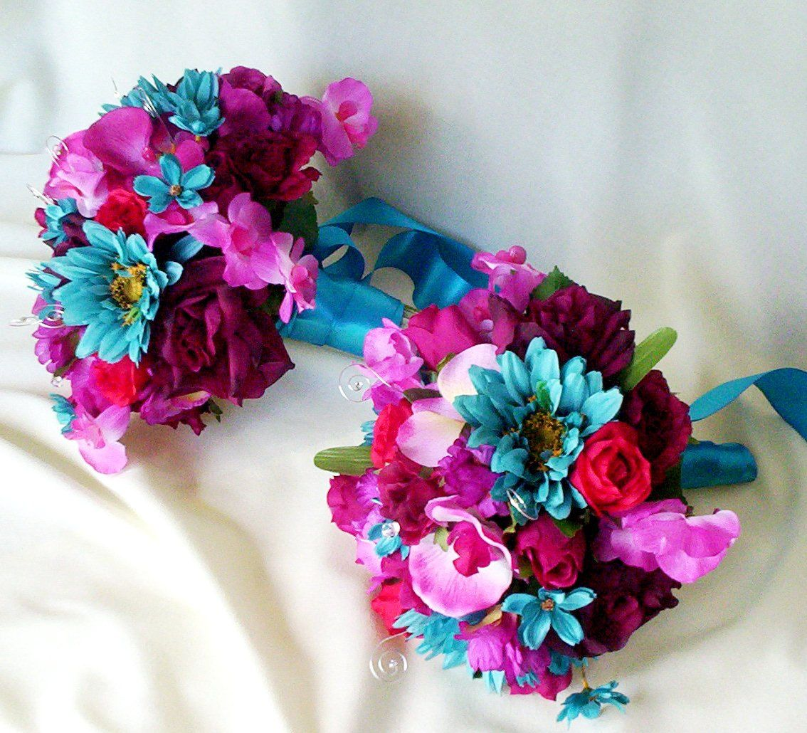 silk wedding flower bouquet package malibu fuschia turquoise custom for marissa