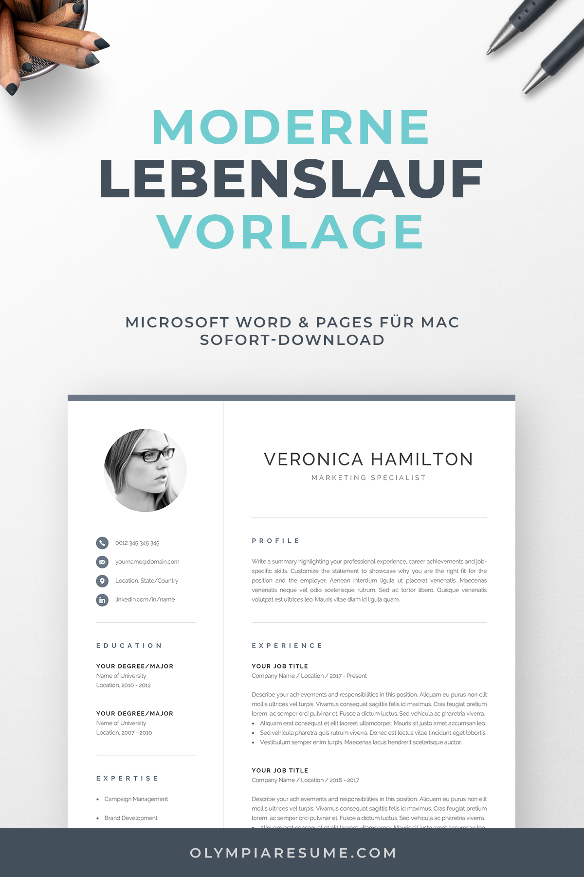 Professional Cv Template With Photo Modern Photo Resume Etsy Resume Template Word Resume Template Professional Cv Template Professional