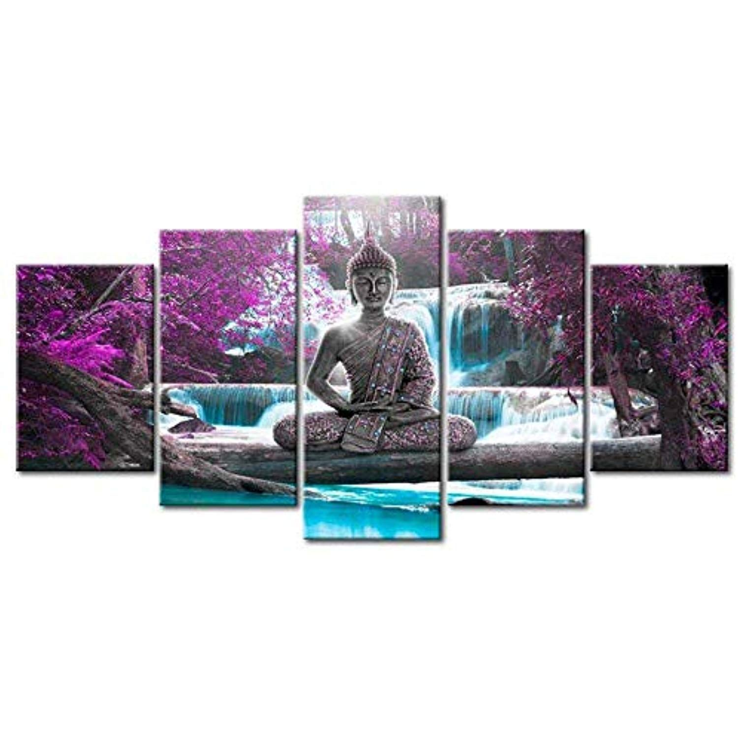 Awlxphy Decor Large Buddha Waterfall Wall Art Canvas Painting Framed 5 Panels For Living Room Decor Buddha Wall Art Waterfall Wall Art Buddha Wall Art Canvases