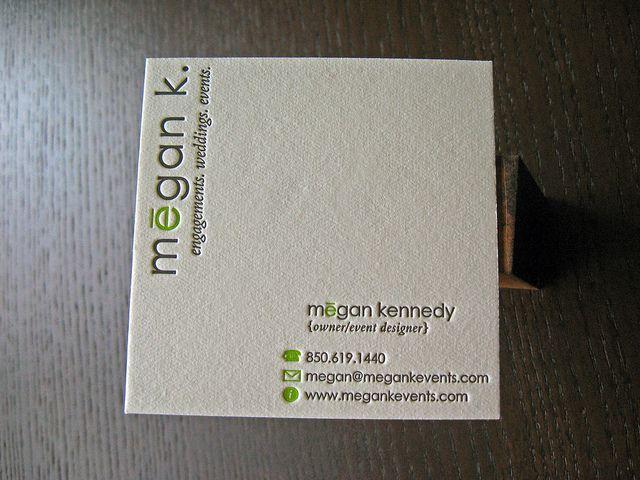 Megan K Events Letterpress Business Card Square Business Cards Business Cards Creative Letterpress Business Cards