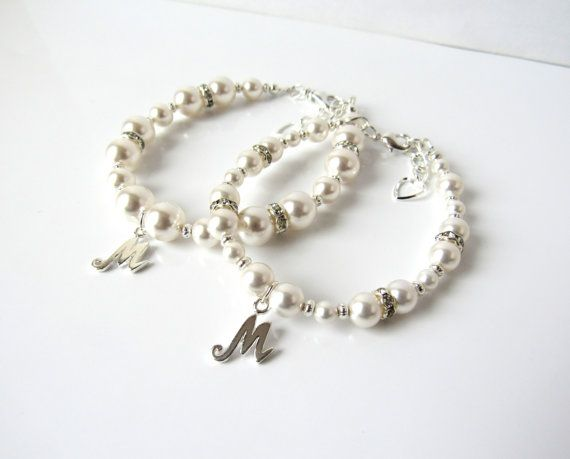 Mother Daughter Bracelet Set Mommy And Me Jewelry S Pearl Personalized