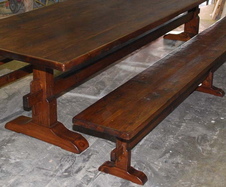 Trestle Table And Benches Made From Reclaimed Antique Pine. Made To Order