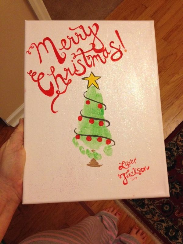 Christmas Footprint Art Christmas Tree By Cheri Handprint Christmas Cards Handprint Christmas Christmas Crafts For Kids