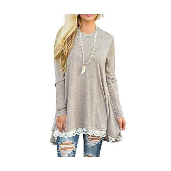 3639a8242f1 Sanifer Women Lace Long Sleeve Tunic Top Blouse in 2019 | What's ...