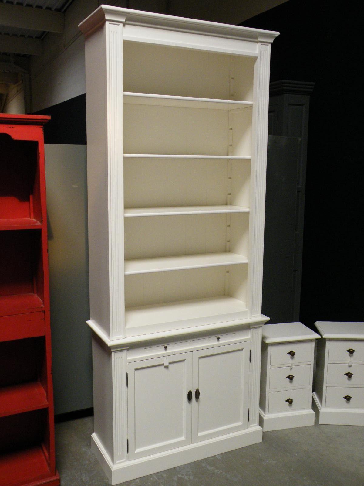 b cherregal regal schrank bibliothek landhausstil landhaus shabby chic wei massiv neu. Black Bedroom Furniture Sets. Home Design Ideas