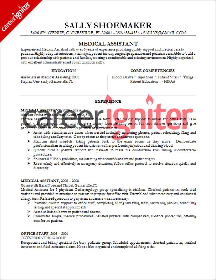 Medical Assistant Resume Sample Resume Pinterest Medical - medical assistant objective for resume