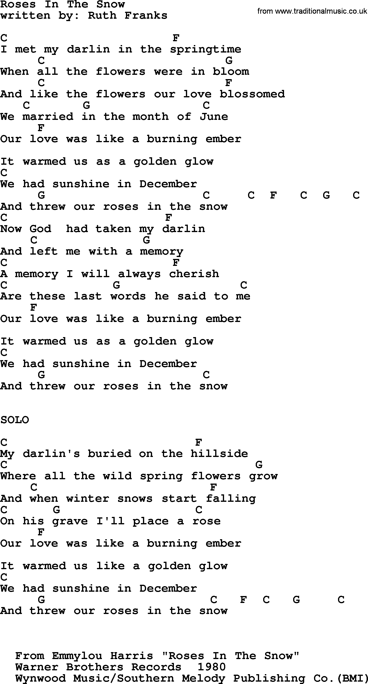 Emmylou Harris Song Roses In The Snow Lyrics And Chords Guitar