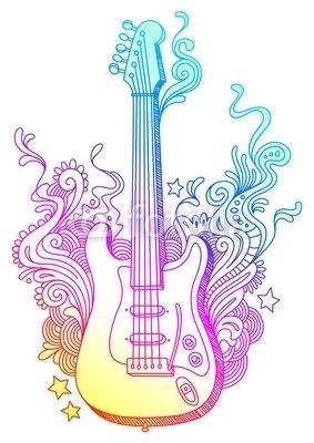 Line Art Doodle Guitar Doodlezentangle Dibujos De Guitarras
