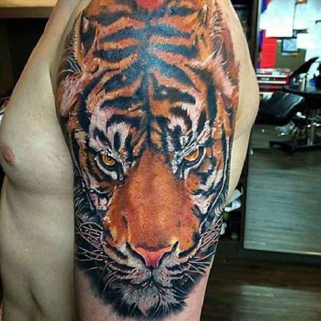 Upper Arm Tiger Tattoo #Tattoo, #Tattooed, #Tattoos