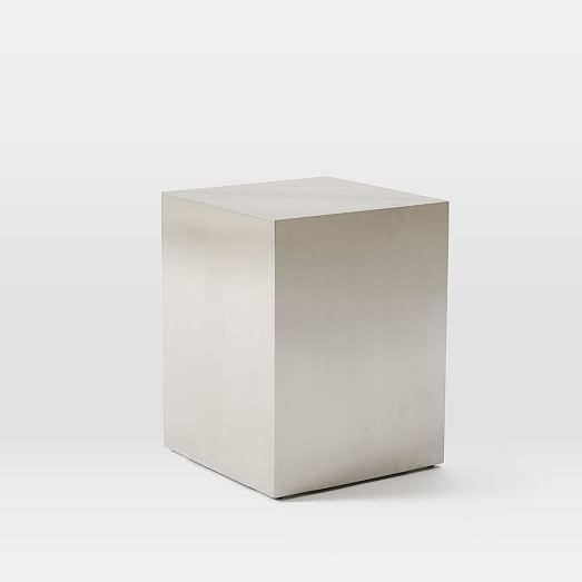 Beautiful Metal Cube Side Table U2013 Brushed Nickel | West Elm