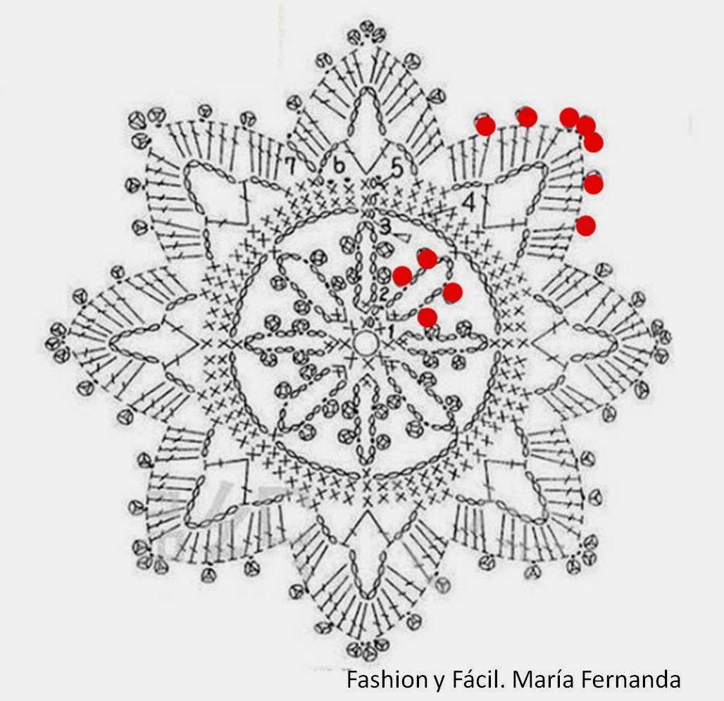 Famoso Patrones Afganos Libre De Ganchillo Copo De Nieve Ilustración ...