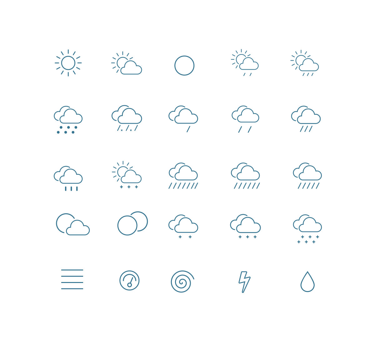 Outline Weather Icons Weather icons, Vector icons, Icon set