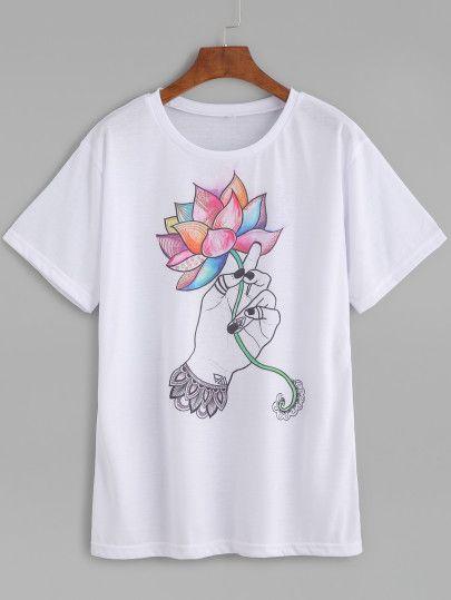 Camiseta con estampado de loto-Sheinside