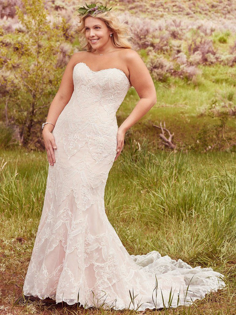 e25b6a0f0ec1 Maggie Sottero Kirstie Ivory/Blush Size 20 Sheeth Wedding Dress, Lace  Mermaid Wedding Dress