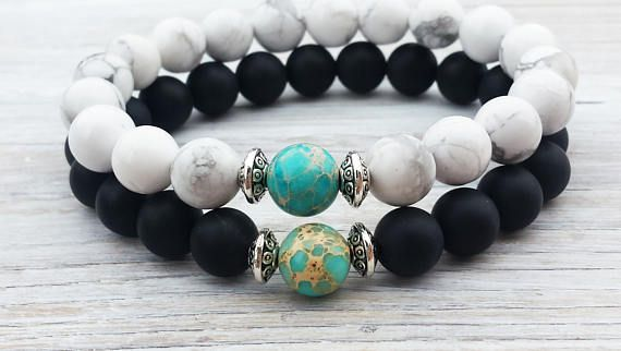 Long Distance Relationship Gifts S Bracelet Complete Me His And Hers For Yinyang Black Lava 8 Mm White Howlite
