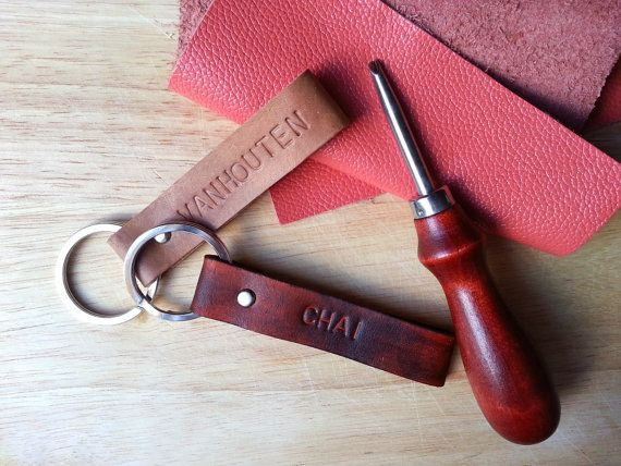 Custom Personalized Monogram Leather Keychain