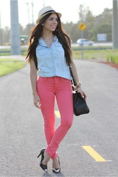 Camisa De Jeans Pantalon Rosa Oscuro Pantal 243 N Rosa