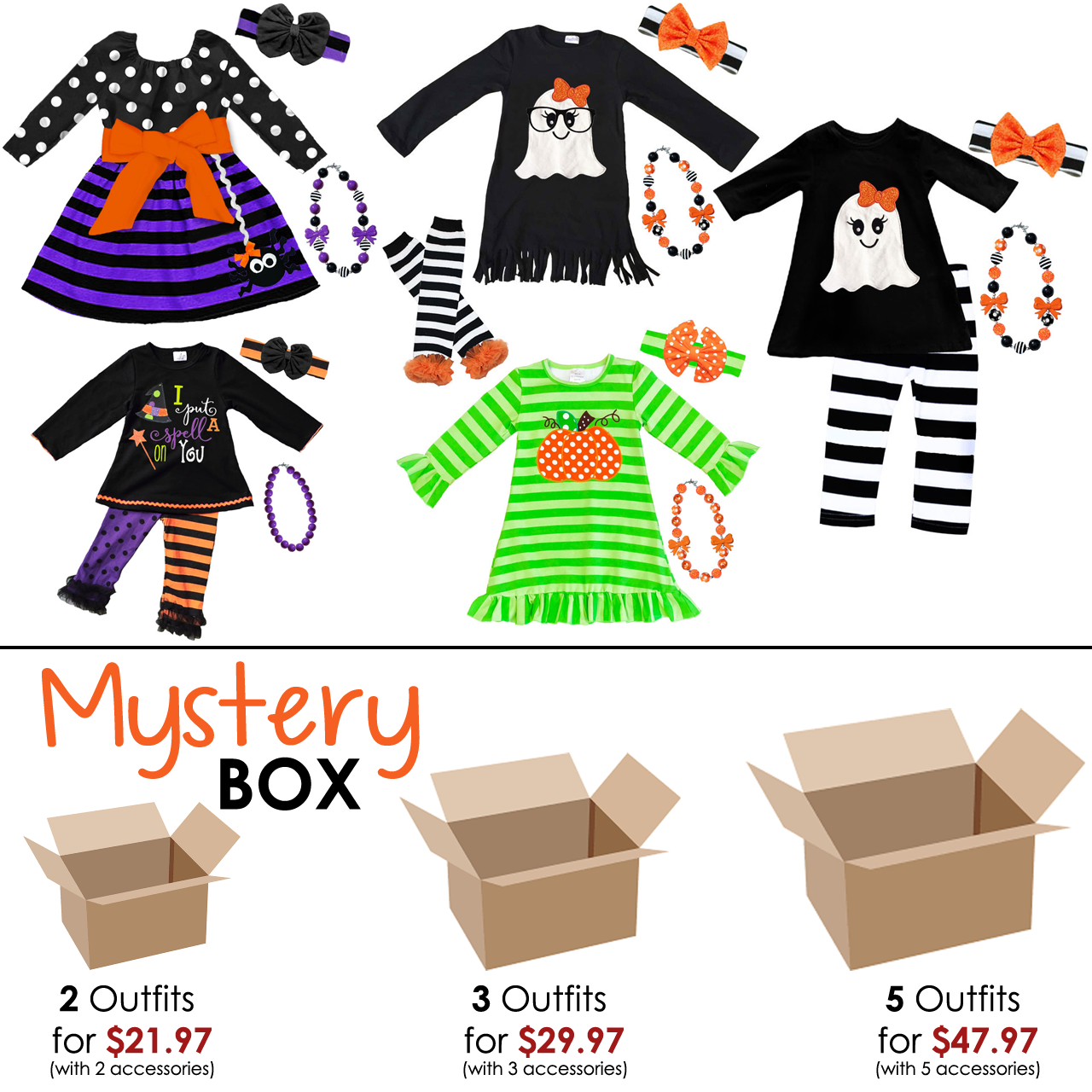 Monster Mystery Box Sale Choose From 2 3 Or 5 Outfits Dresses With 2 3 Or 5 Accessories And Save Up To 50 The Outfi Monster Squad Toddler Boutique Monster