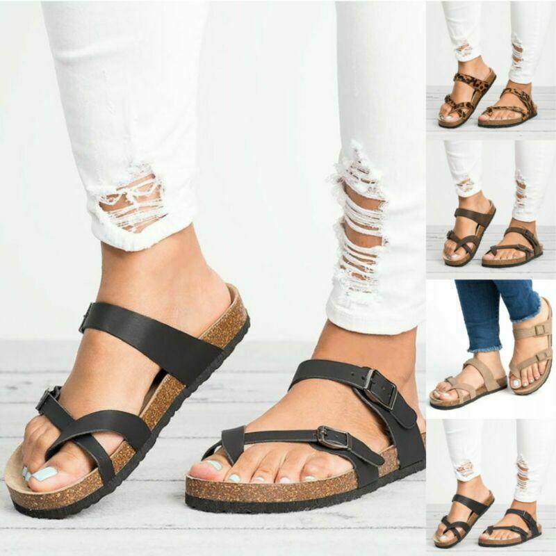 Damen Flach Fußbett Zehentrenner Sandalen Pantoletten