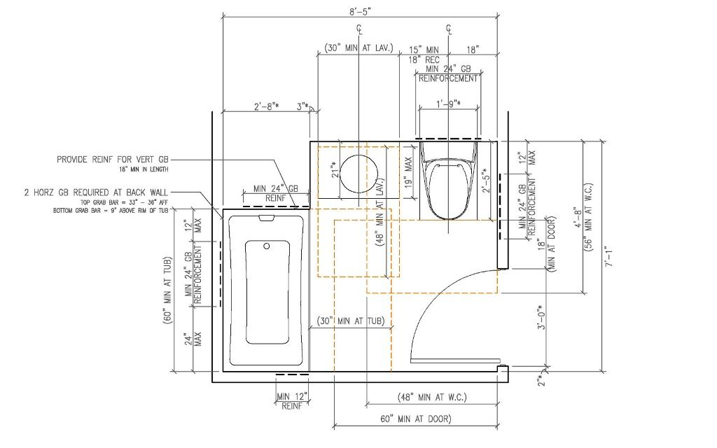 Ada Residential Bathroom Dimensions Decoration Ideas Requirements