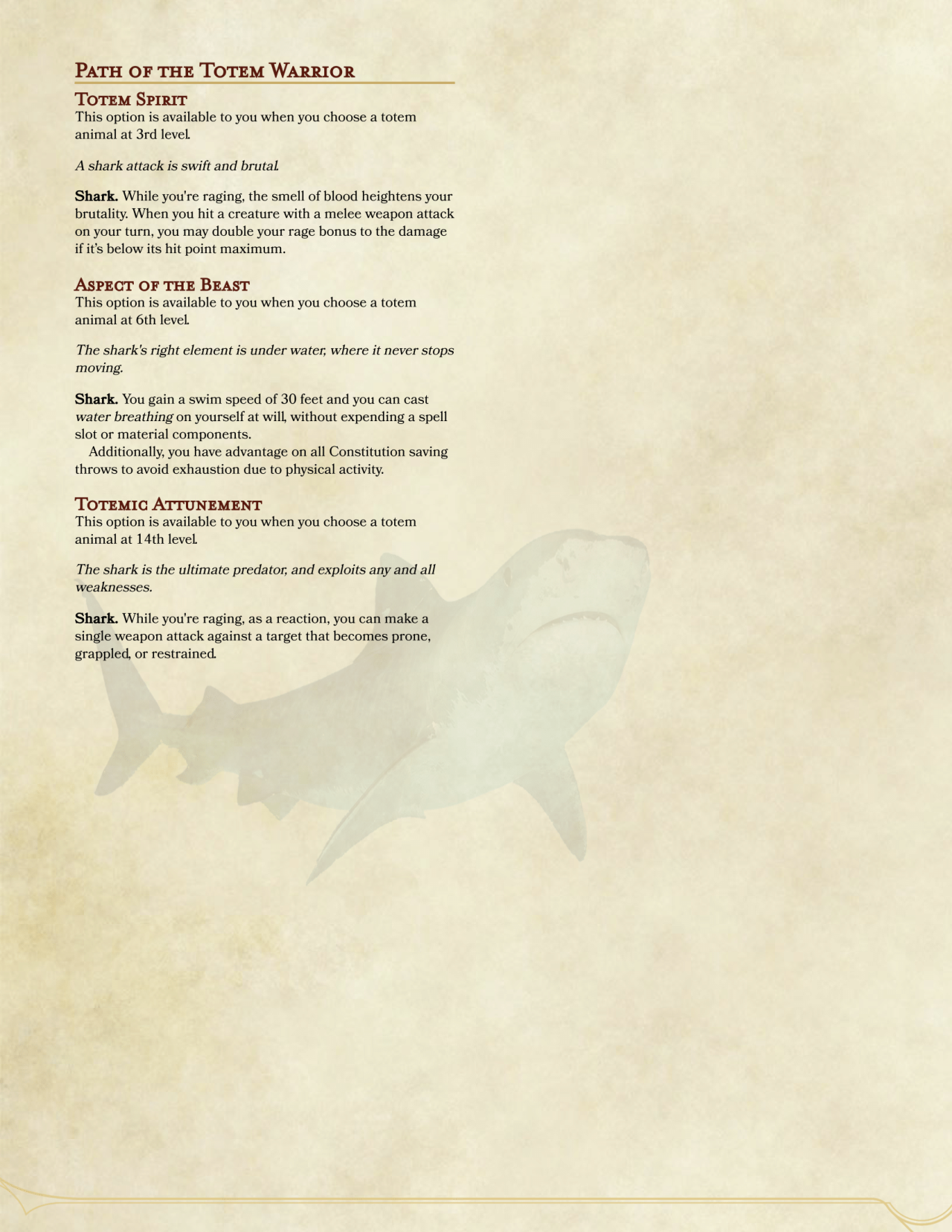 Shark Totem Warrior Barbarian by groggen2 Dungeons