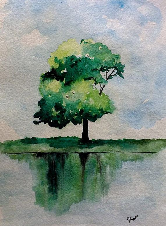 Original Watercolor Green Tree Painting Simple Reflection On