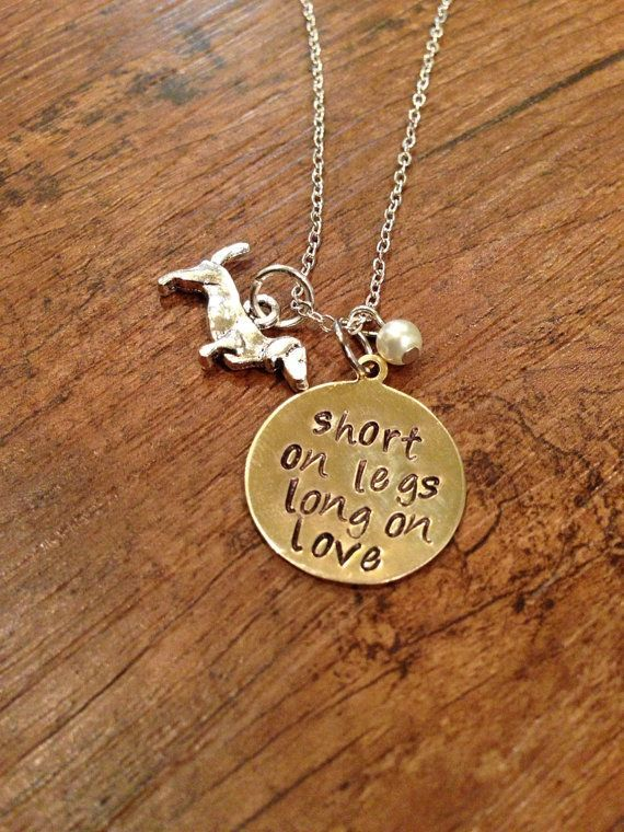 Short on legs, long on love necklace - dachshund charm necklace, doxie necklace, gift for dachshund lover, hand stamped necklace on Etsy, $18.00