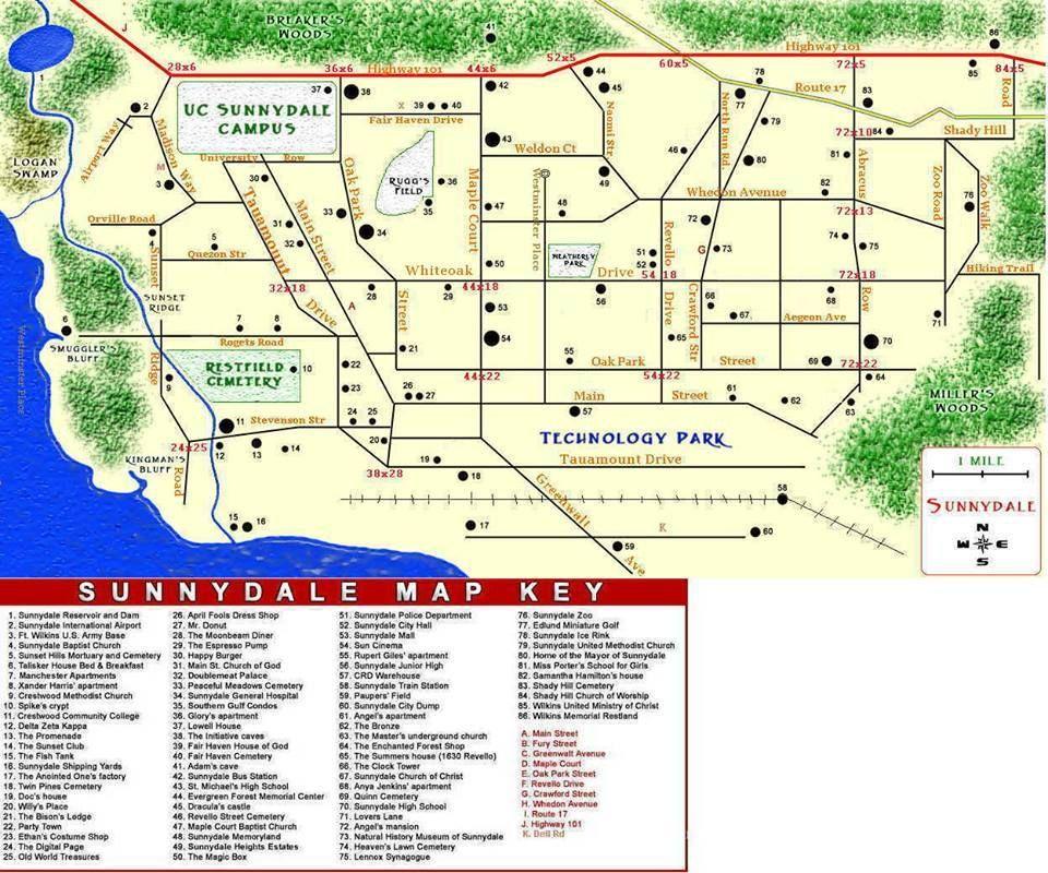 map of sunnydale   tv   Pinterest   Buffy the vampire slayer
