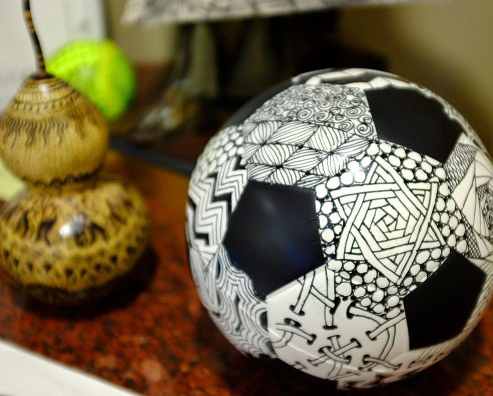 2e93e4897 Zentangle soccer ball | Stress Relief | Kids art class, Zentangle ...