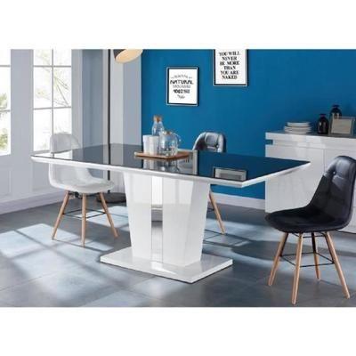TREVISE Table à manger 8 personnes 180x90 cm - Noir et laqué blanc