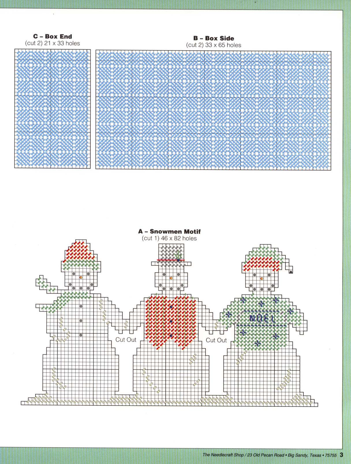 Snowmen Card Holder Plastic Canvas Pattern Christmas