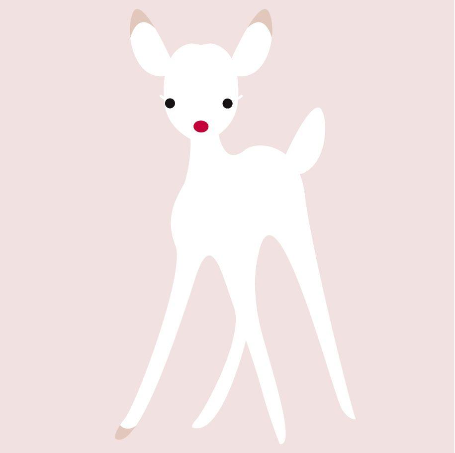 muursticker / wall decal: oh deer, white