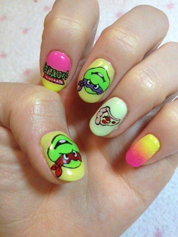 TMNT nails- Very Cool !!   I Love These TMNT !!   Pinterest   TMNT ...