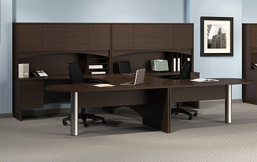 mayline brighton 2 person workstation laminate u shape 2. Black Bedroom Furniture Sets. Home Design Ideas