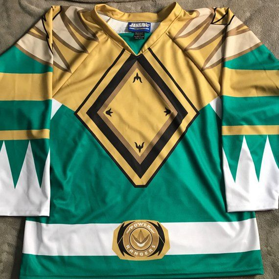 newest 1942b b8de7 Green Mighty Morphin Power Ranger Hockey Jersey | Products ...