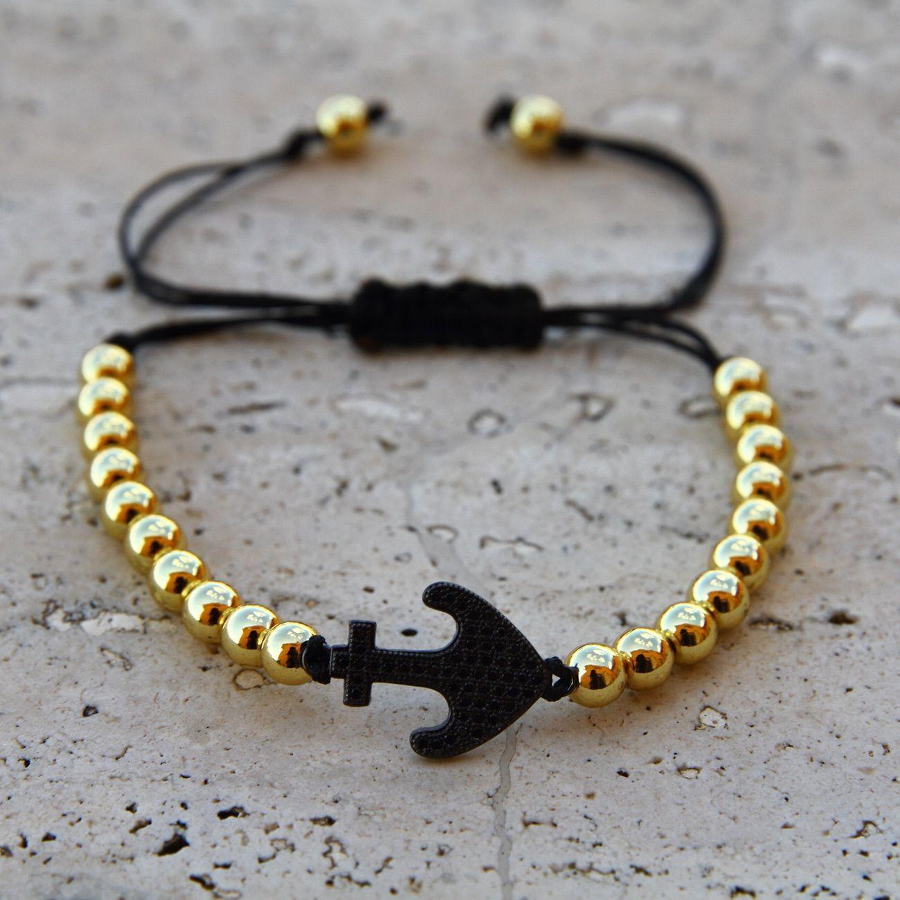 Braccialetto unisex acciaio inossidabile oro ancora black gun micro