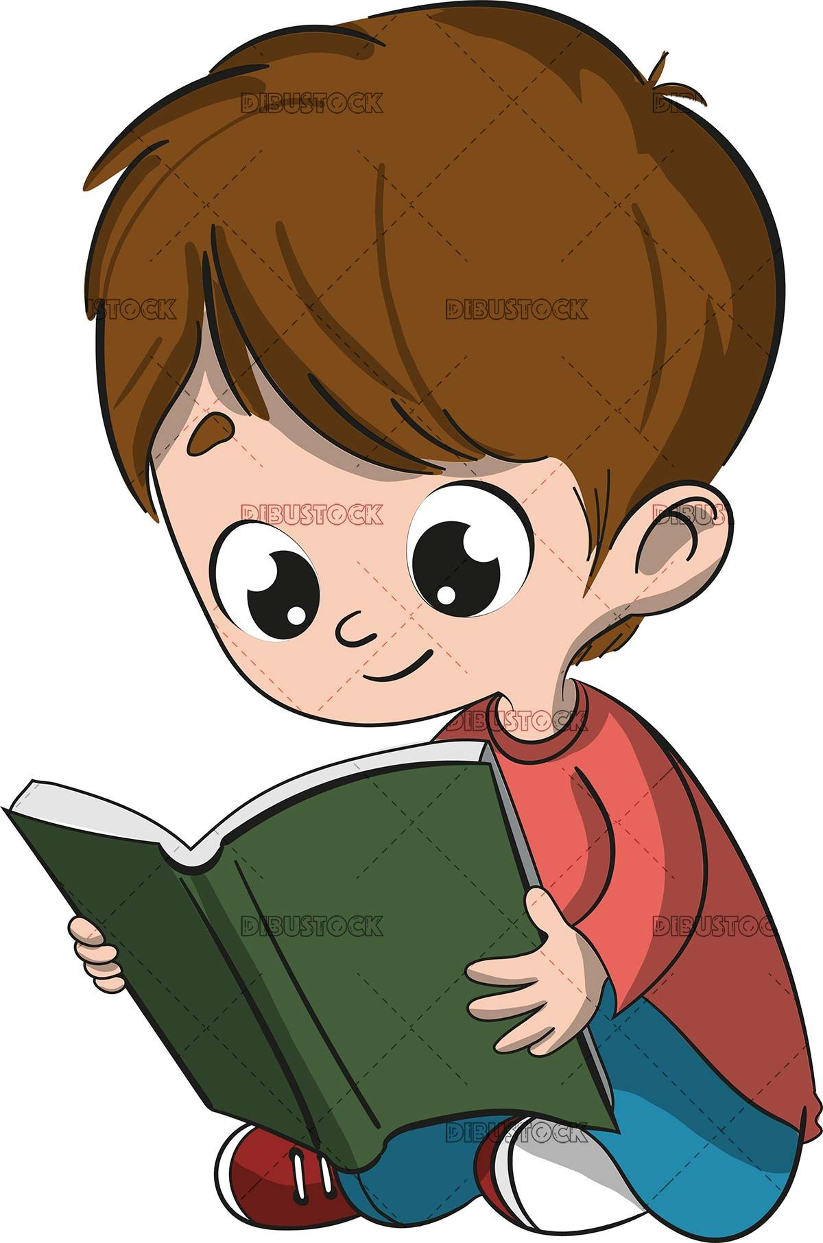 Boy Reading A Book Sitting On The Floor Art Drawings For Kids Book Illustration Art Childrens Book Characters