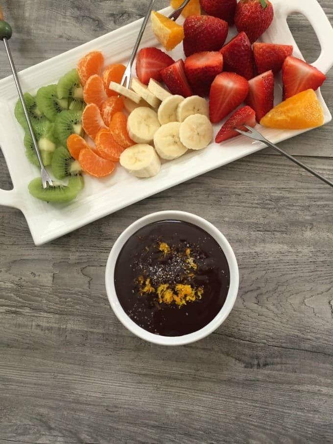 9a43b5edb8b1 Dark Chocolate Orange Sea Salt Fondue makes a fun snack for the family